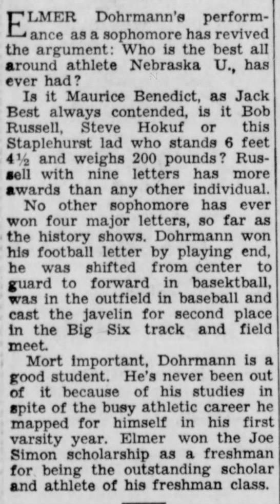 1936 Elmer Dohrmann four letters as sophomore -
