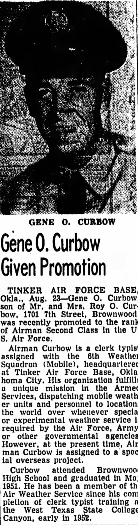 Gene Oliver Curbow - Military -
