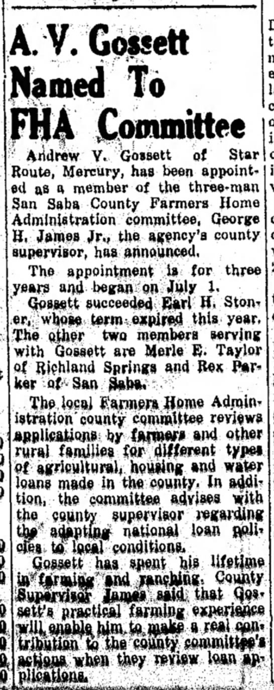 The San Saba News and Star 19 Oct 1964 Pg. 1 A V Gossett Named to FHA Committee -