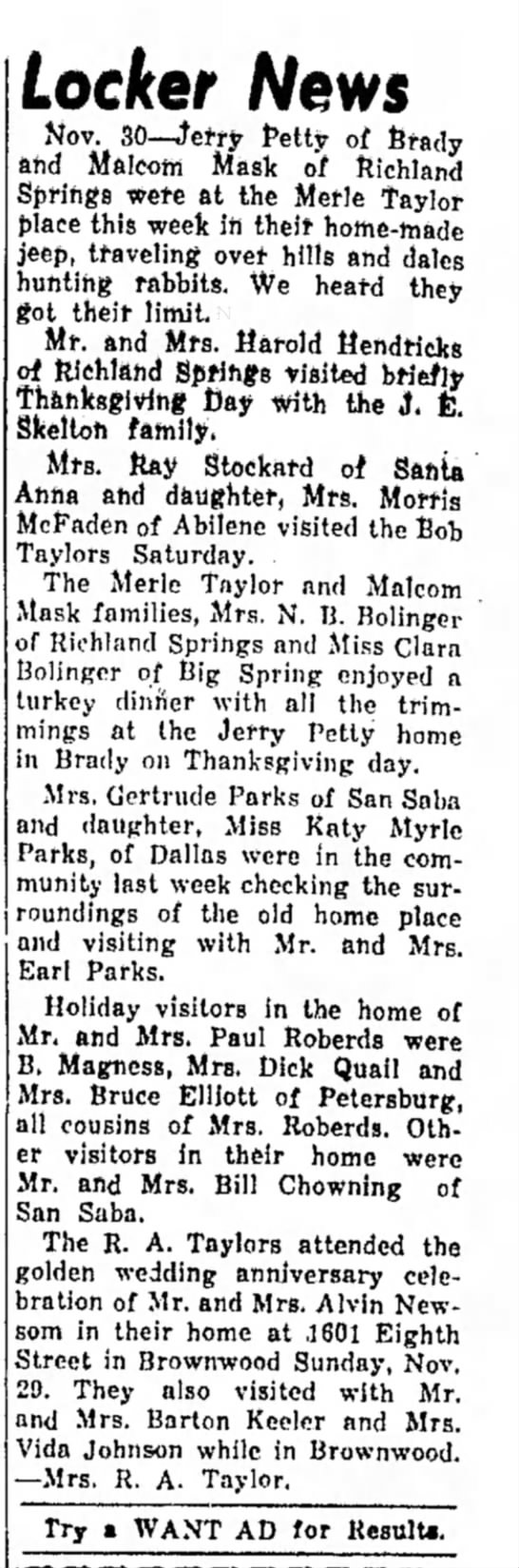 The San Saba Naews and Star 7 Dec 1964 Pg 2 Locker News -
