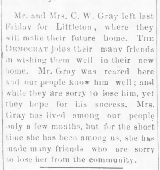 Mr. and Mrs. Charles W. Gray -