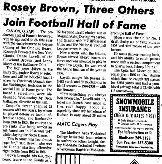 Rosey Brown, Three Others Join Football Hall of Fame -