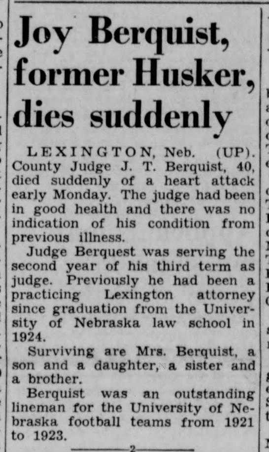 Joy Berquist, former Husker, dies suddenly -