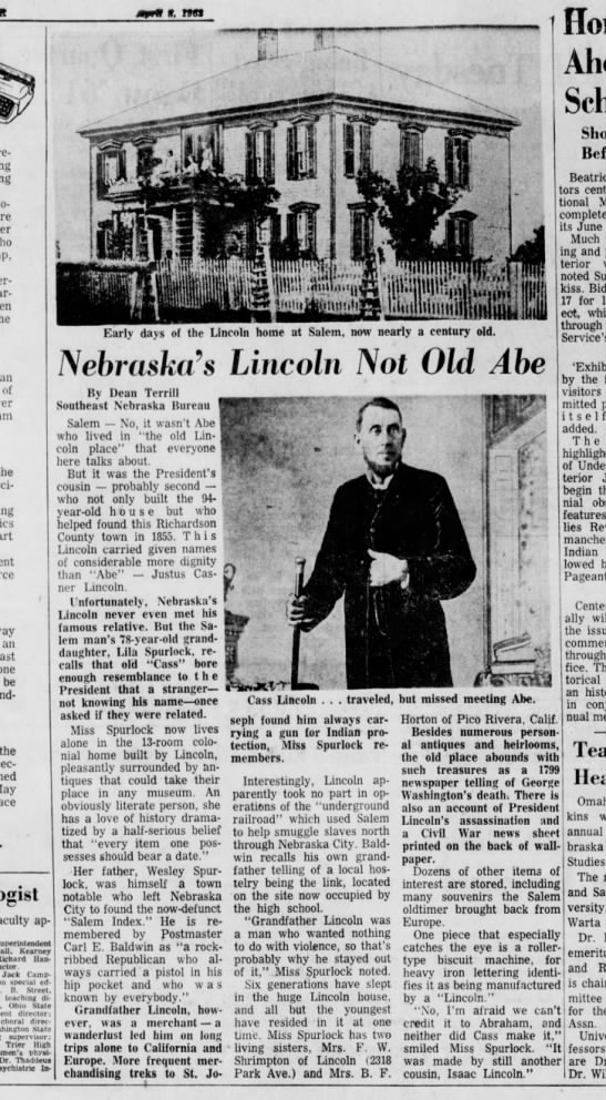 Justus C Lincoln article from Lincoln, NE.   The Lincoln Star 8 April 1962 -