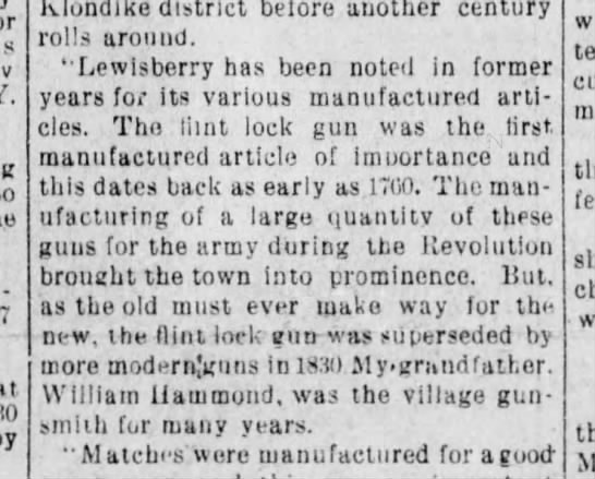 The Gazette, York, PA, 13 November 1897, William Hammond the village gunsmith -