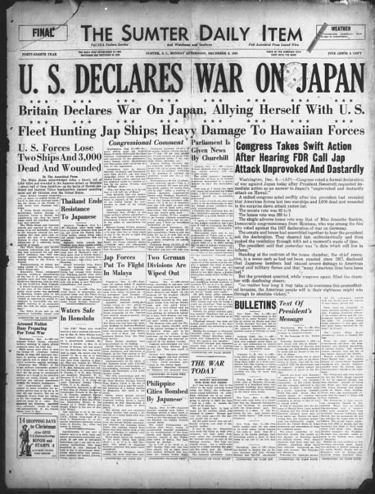 The United States declares war on Japan after the bombing of Pearl Harbor -
