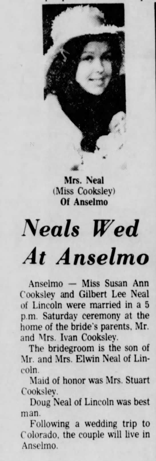 Susan Cooksley Neal Wedding The Lincoln Star 1 July 1973 -