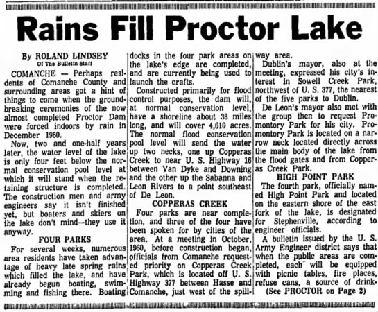 Rains Fill Proctor Lake -