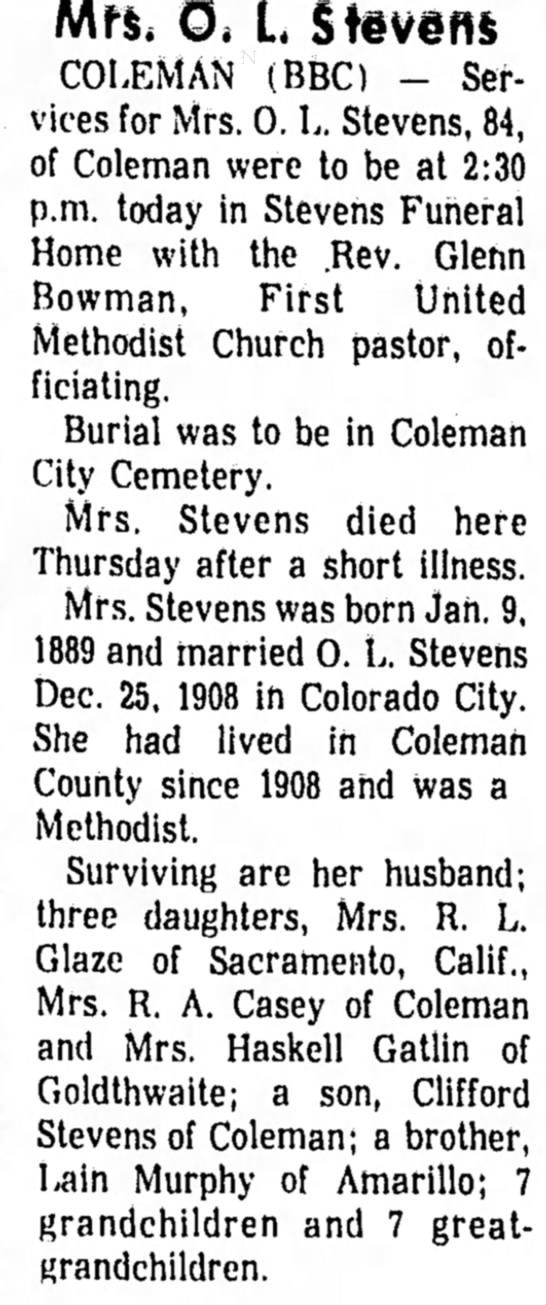 Mrs. O. I. Stevens -