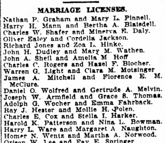 Indpls Star, 15 June 1911, p 11. Marriage Licenses. Adolph G. Wocher and Emma Fahrbach. -