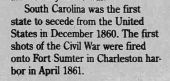 South Carolina was the first state to secede from the US -