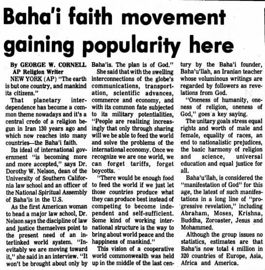 echo of AP profile of Baha'is and Dorothy Nelson in particular -