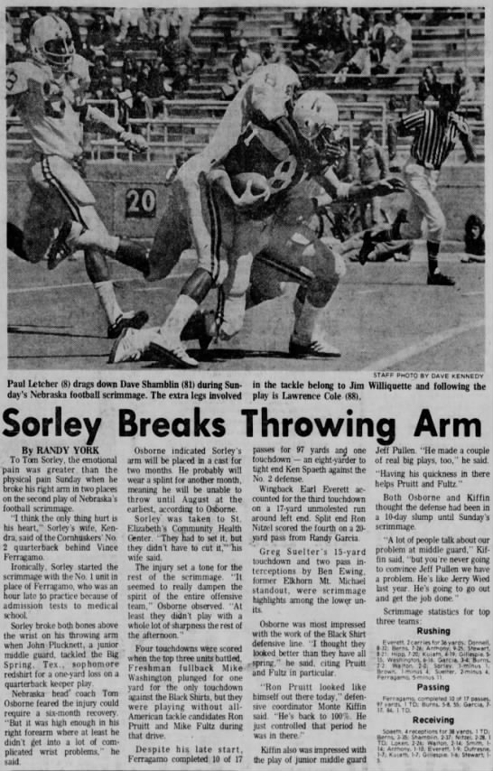 1976 Tom Sorley broken arm -