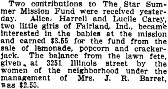 Harrell, Alice  Lucile Carey support the Star Summer Mission Fund. Indianapolis Star 8-17-1911 p3 -