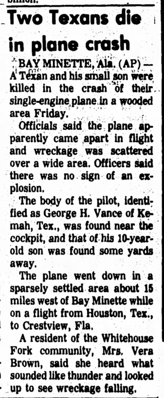 Vance Plane Crash - Texas Article - late Two Texans die in plane crash * BAY...