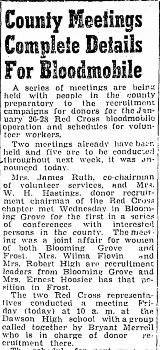 Wilma Flovin Red Cross Recruitment Leader - Blooming Grove, TX - 1/12/54 - County Meetings A series of meetings are being...