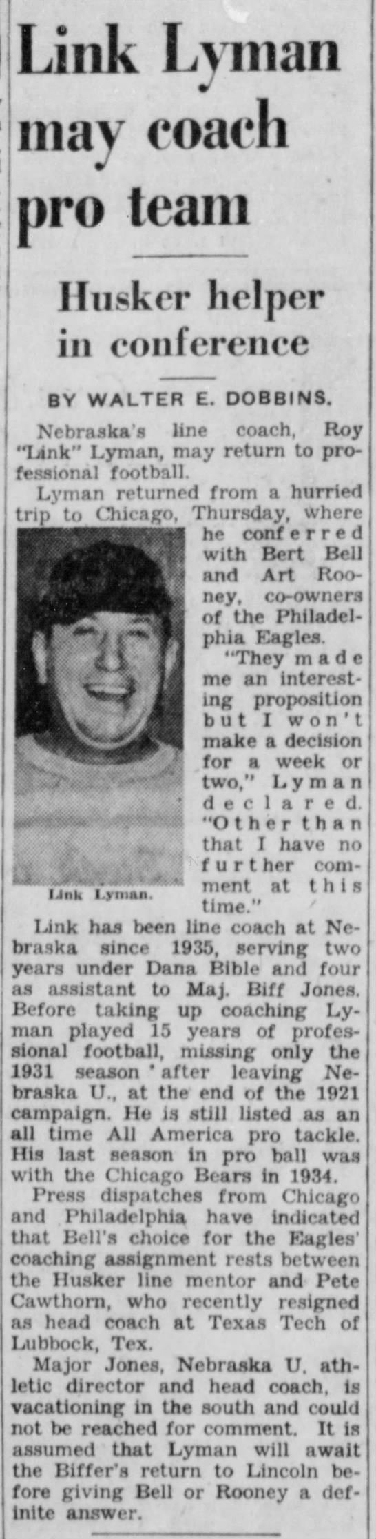 1941 Link Lyman coaching -