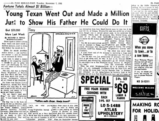 C. B. Wrightsman wins against father's estate_1961 -