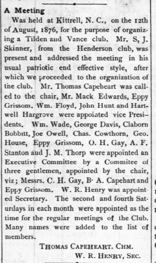 A Meeting (19 Sep 1876, The Torchlight, Oxford, NC) -