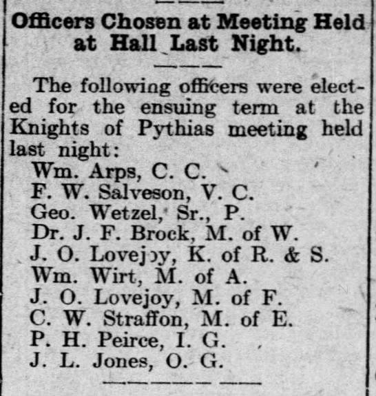 J. O. Lovejoy elected officer of Knights of Pythias. Dec 1918. -