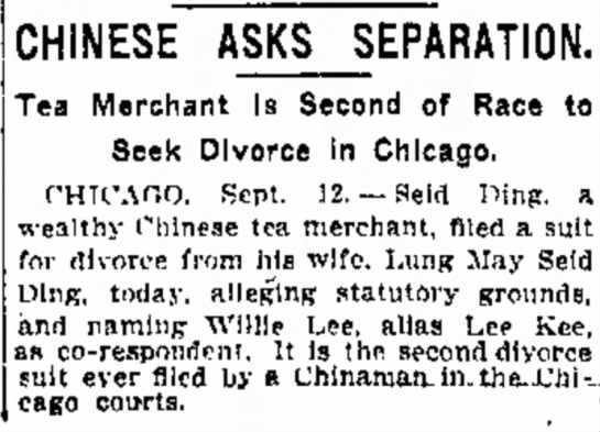 Willie Lee aka Lee Kee in Chicago - Indpls Star Sept 13 1911 page 2 -