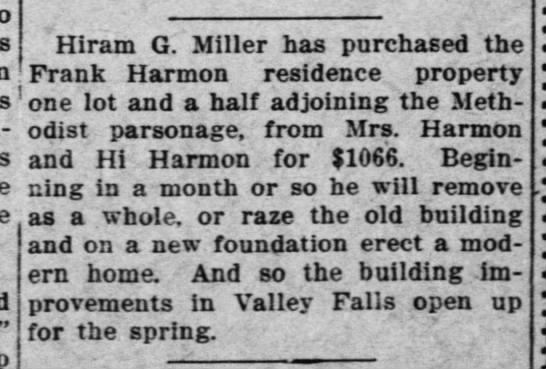 Hiram G. Miller purchases new home -