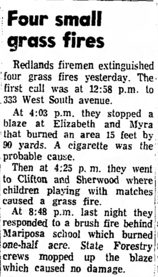 Redlands  Daily Facts, 3 July 1969  Four Small Grass Fires -