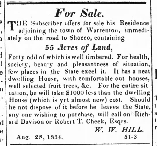 W. W. Hill selling new house and land near Warrenton -