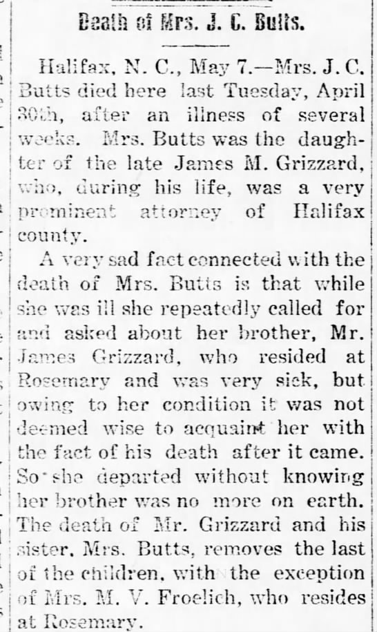 Lucy Grizzard Butts, Obituary part 1 -