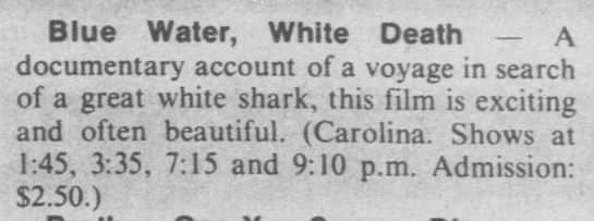 """Brief review of """"Blue water, white death"""" (1975) -"""