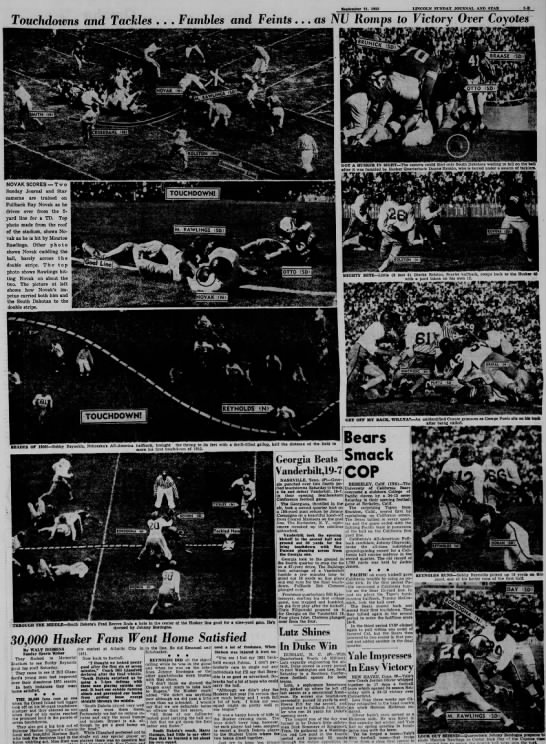 1952 Nebraska-South Dakota football photos -