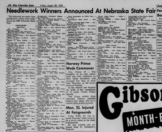 30 August 1968 State Fair Needlework Winners, Lincoln Star -