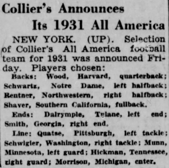 Collier's Announces Its 1931 All America -