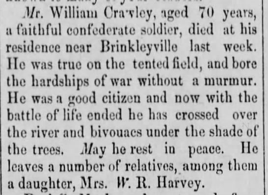 William David Crawley, Obituary 1892 -