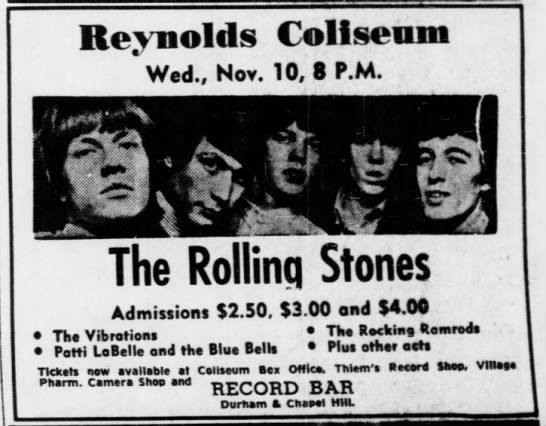 Rolling Stones ad in The Daily Tar Heel -