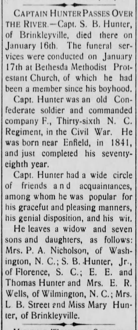 Samuel B. Hunter, Obituary 1919 -