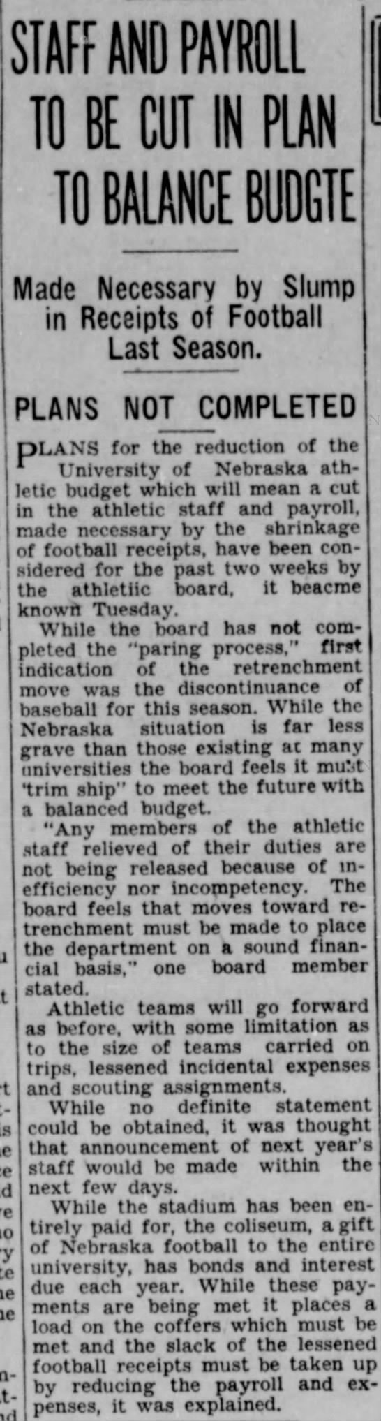 1932 Nebraska athletic department tight finances -