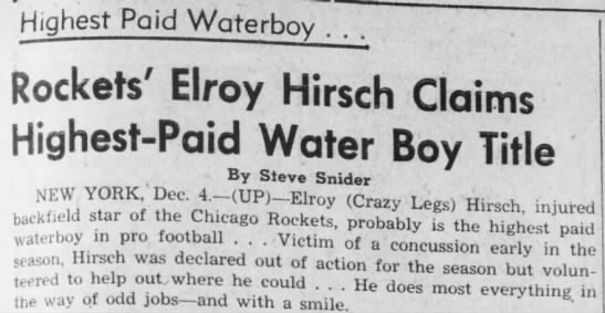 Rockets' Elroy Hirsch Claims Highest-Paid Water Boy Title -