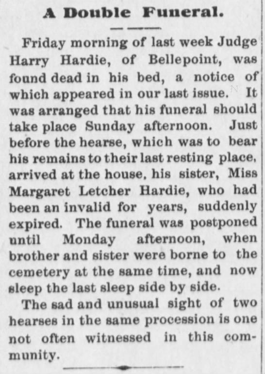 Hardie, Harry and sister Margaret Letcher Hardie 19 Dec 1891 -