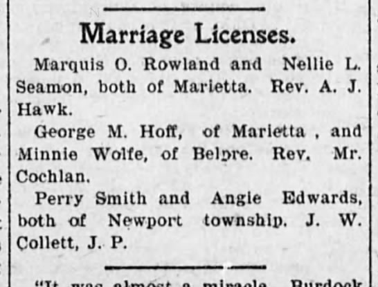 Marriage announcement of my great grandparents Perry Smith & Angie Edwards -