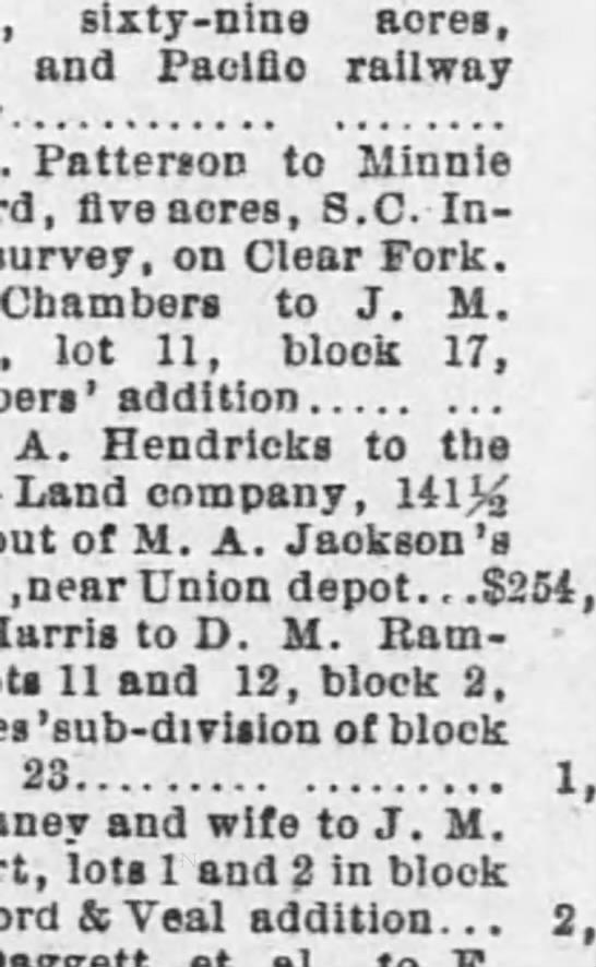 Mrs E A Hendricks land sale - aores Texas PacIQo railway survey to Minnie H...