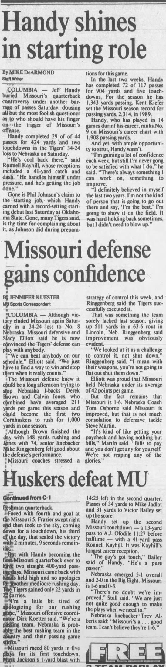 1992 Nebraska-Missouri football, KC2 -