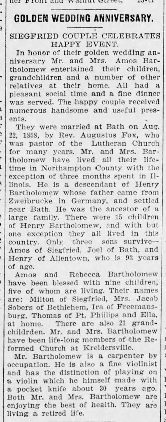 """Golden Wedding Anniversary of Amos and Rebecca """"Peggy"""" Whiteside Bartholomew. -"""