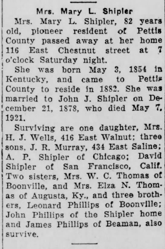 Sedalia Weekly Democrat 13 Mar 1936 Mary L. Phillips Shipler Obituary -