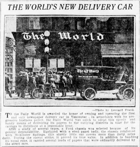 First newspaper delivery car in Vancouver -