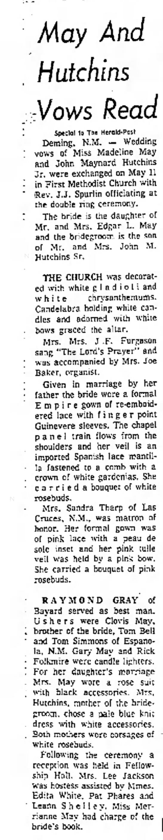 May-Hutchins marriage, May 1968, in Deming, NM, reported in Wl Paso Herald-Post, May 1968 -