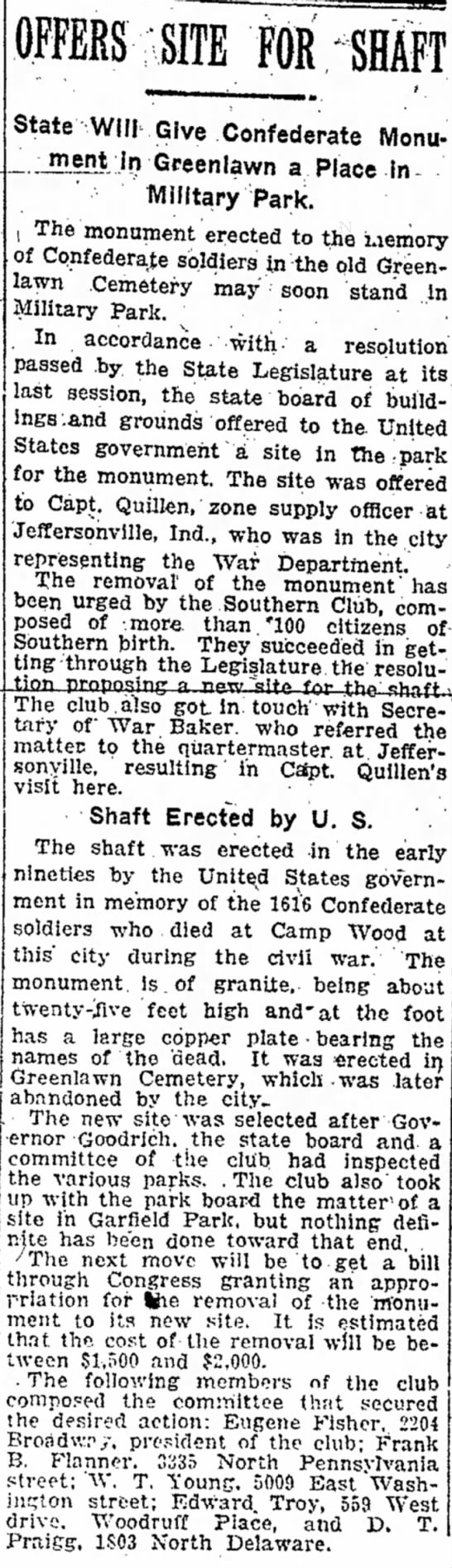 """State Will Give Confederate Monument in Greenlawn a Place in Military Park""; IndyStar; May 4, 1919 -"