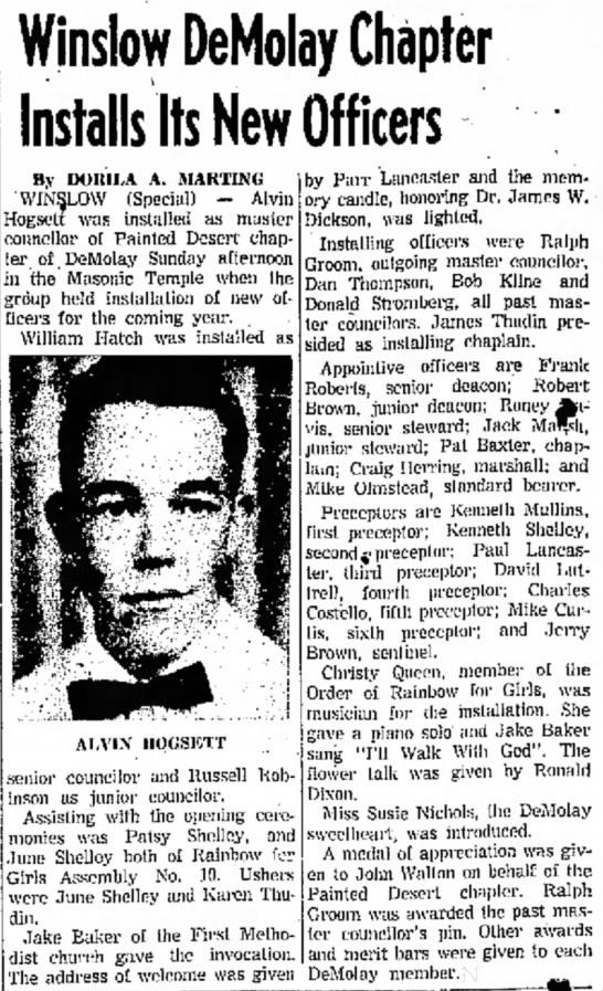 1961 George Parr Lancaster - Winslow DeMolay Officers -