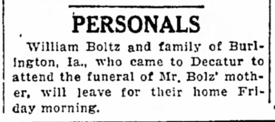 William Boltz goes to mom's funeral -