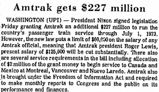 Amtrak 1972 appropriation -